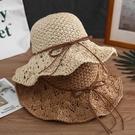 草帽 太陽涼帽子女士夏天出游遮陽沙灘草帽...