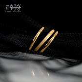 戒指三生三世食指戒指女鈦鋼18K金色小素圈ins冷淡風網紅時尚個性潮 雲朵走走