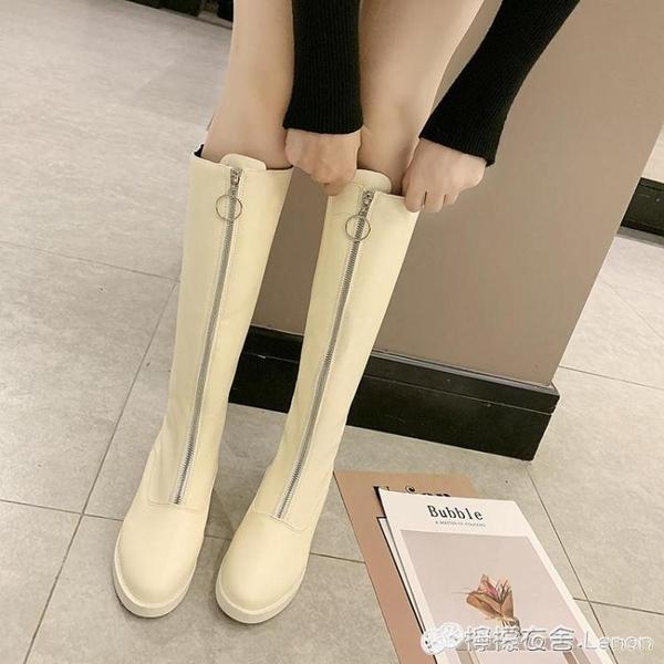網紅長筒靴子女秋季新款韓版百搭粗跟高跟鞋chic前拉錬過膝靴 檸檬衣舎