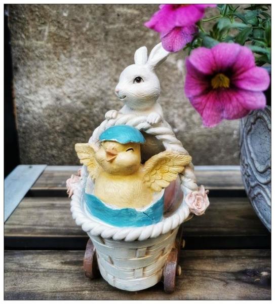 美式田園樹脂兔子擺件創意可愛入戶露臺花園庭院裝飾陽臺布置造景