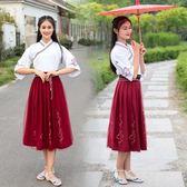 改良漢服古裝女交領襦裙中國風古風套裝 LQ4751『夢幻家居』