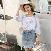 年終9折大促 2018夏裝新款韓版女裝V領花色棉麻T恤寬鬆學生兩件套吊帶上衣夢想巴士