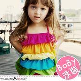 女童六層彩色荷葉連身泳衣 彩虹裙