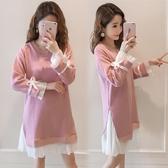 孕婦裝秋冬裝假兩件長袖針織拼接百褶孕婦洋裝韓版中長款裙子秋 錢夫人