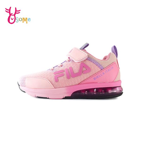 FILA童鞋 女童運動鞋 氣墊鞋 足弓鞋墊 矯正鞋 慢跑鞋 運動鞋 跑步鞋 魔鬼氈 康特杯 R7668#粉紫