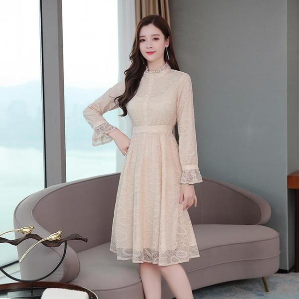 依Baby 長袖洋裝 秋季新款裝復古蕾絲連身裙長袖中長款超仙裙