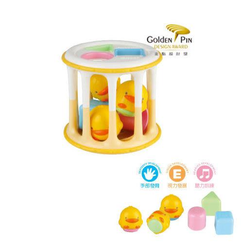 【奇買親子購物網】黃色小鴨 PiYO PiYO 造型積木滾筒玩具