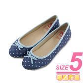 5號-超零碼Paidal 水玉點點娃娃鞋-藍