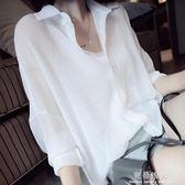 新款夏季薄款襯衫女韓范雪紡外搭上衣寬鬆大碼襯衣防曬衣百搭顯瘦 完美情人精品館