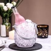 亞克力酒吧KTV帶把冰桶 透明塑料冰桶 香檳桶 冰塊桶 水晶冰粒桶ATF 美好生活