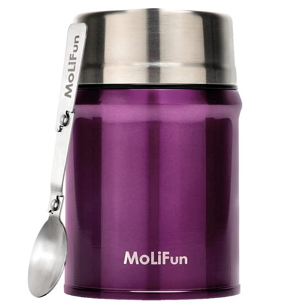 MoliFun魔力坊 316不鏽鋼輕量真空保鮮保溫悶燒罐/悶燒杯800ml-水晶紫(MF0800V)