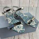 BRAND楓月 PRADA 1X469I 銀色 漆皮 藍色LOGO 綁帶綁結裝飾 低跟 平底 涼鞋 拖鞋 #35.5