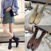 襪子靴針織瘦腿彈力靴秋冬新款粗跟短靴中跟方頭裸靴馬丁靴女