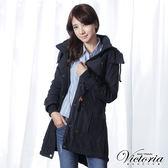 Victoria 軍裝長版鋪棉外套-女-藏青