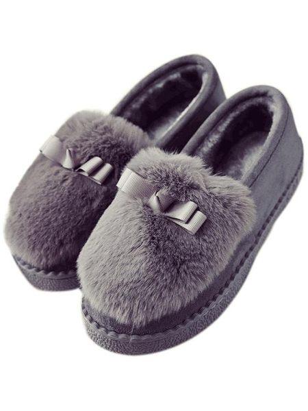 秋懶人鞋平底女士休閒毛毛單鞋厚底棉鞋女鞋冬保暖加絨豆豆鞋瓢鞋【元氣少女】