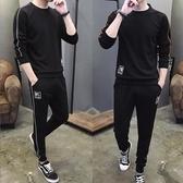 運動套裝男2018新款春秋季大尺碼休閒跑步服衛衣長褲兩件套運動服裝
