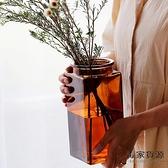 簡約方形玻璃花瓶透明北歐水培瓶擺件插花器【毒家貨源】