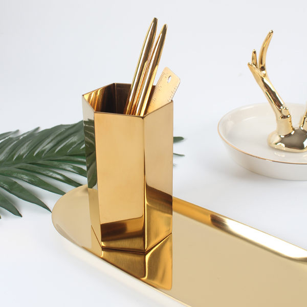 筆筒  北歐黃銅金色六邊形筆筒插花瓶裝飾物攝影道具金屬桌面擺件  蒂小屋服飾