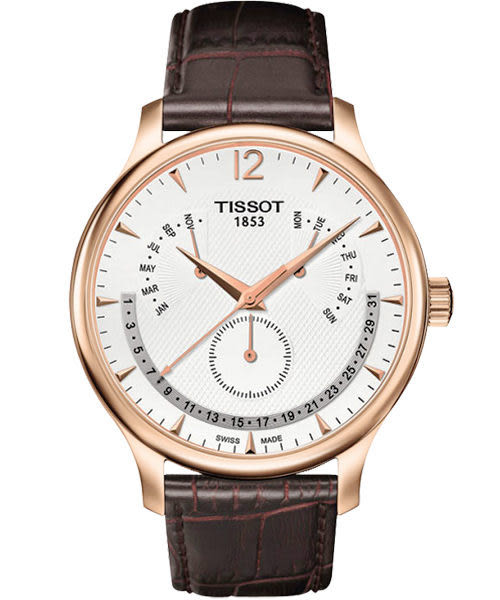 TISSOT 天梭 Tradition 逆跳復刻經典手錶-白/咖啡 T0636373603700