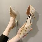 促銷全場九折 尖頭單鞋女年春季新款韓版水鉆時尚網紅一腳蹬細跟高跟鞋女潮