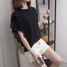 大碼女裝2021年夏新款洋氣寬鬆冰絲短袖T恤胖妹妹蕾絲針織上衣潮 果果輕時尚