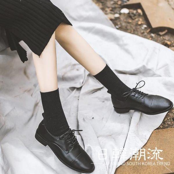 馬丁靴 英倫鞋  春季新款單鞋女韓版百搭復古英倫學院風黑色真皮系帶小皮鞋女