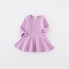 女Baby女童長袖洋裝淡紫色可愛甜美洋裝素面純棉洋裝 2019/4/1到貨