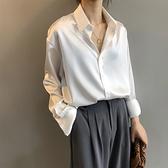 女士襯衫 醋酸緞面襯衫女秋冬設計感小眾上衣絲綢垂感抗皺輕奢長袖白色襯衣 優拓