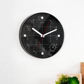 黑時尚簡約溫度計鐘-生活工場