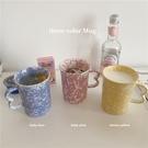 馬克杯 阿寶-自制法式ins復古小眾黃粉藍潑墨馬克杯少女陶瓷水杯咖啡杯 晶彩