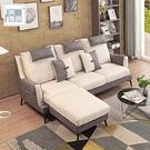 【多瓦娜】典雅大師-蒂迪爾L型沙發(三+凳)-灰+白色-ZF-1424-3P+ST