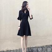 洋裝 冷淡風黑色洋裝女夏新款修身顯瘦V領高腰赫本復古a字小黑裙