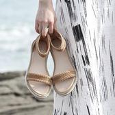 真皮平底羅馬涼鞋女學生百搭軟妹簡約一字沙灘涼鞋子吾本良品
