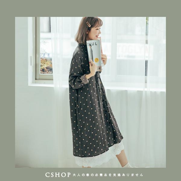 洋裝   水玉點點風琴摺棉麻洋裝  三色-小C館日系