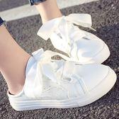 (全館一件免運)DE shop~(NN-7788)百搭外穿小白鞋女時尚韓版休閒平底拖鞋學生包頭半拖鞋