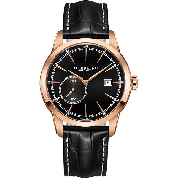 Hamilton 漢米爾頓 RAILROAD 鐵路系列偏心機械腕錶-黑x玫瑰金框/42mm H40545731