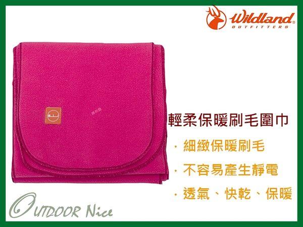 ╭OUTDOOR NICE╮荒野WILDLAND 輕柔PILE保暖圍巾 W2010 桃紅色 刷毛圍巾 不易產生靜電