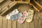 襪子【FSW056】牽牛花直條紋短筒襪 隱形襪 短襪 復古  123ok