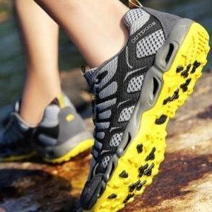 ♥巨安網購♥【W15361E5】登山鞋網布溯溪鞋真皮徒步戶外鞋登山戶外鞋運動鞋(深灰)