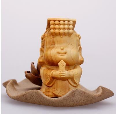 東陽黃楊木 雕彌勒佛車擺件 觀音如來手把件 濟公關公精品送禮 Q版瑪祖