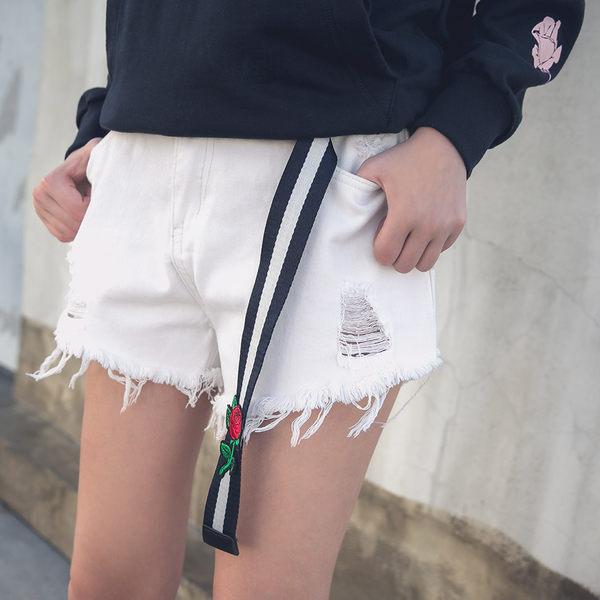 DADA SUPREME 修身牛仔短褲-女-白