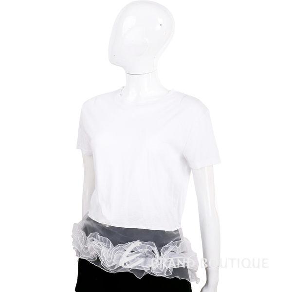 EDWARD ACHOUR PARIS 白色拼接紗質下襬短袖T恤 1620354-20