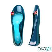 【Oka-B】PAULA彩色水晶配飾芭蕾平底娃娃鞋/包鞋  藍色(K053PA-NA)