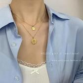 【Charm Beauty】設計感 雙層圓牌 吊墜項鏈 2021年 新款女輕奢 小眾 裝飾 鎖骨鏈 衛衣配飾