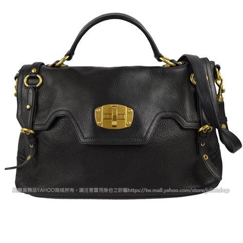 茱麗葉精品 二手名牌 【9成新】MIU MIU BN0633 質感皮革鈕扣單把手提公事包/兩用包.黑
