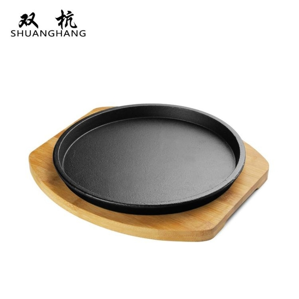圓形家用西餐鐵板燒盤韓式烤肉鍋煎牛排盤不黏鑄鐵燒烤盤 黛尼時尚精品