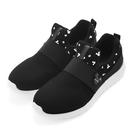Disney 率性風格 米奇彈性繃帶休閒鞋-黑(DW3638黑)