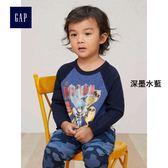 Gap男嬰幼童 DC™正義者聯盟系列 基本款圓領插肩袖長袖T恤 357936-深墨水藍