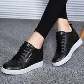2018春季新款內增高黑色皮鞋女士韓版運動休閒皮面小白鞋厚底女鞋 挪威森林