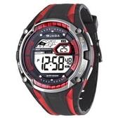 捷卡JAGA 多功能大視窗 冷光 電子錶 男錶 運動錶 學生錶 軍錶 黑紅色 M980-AG